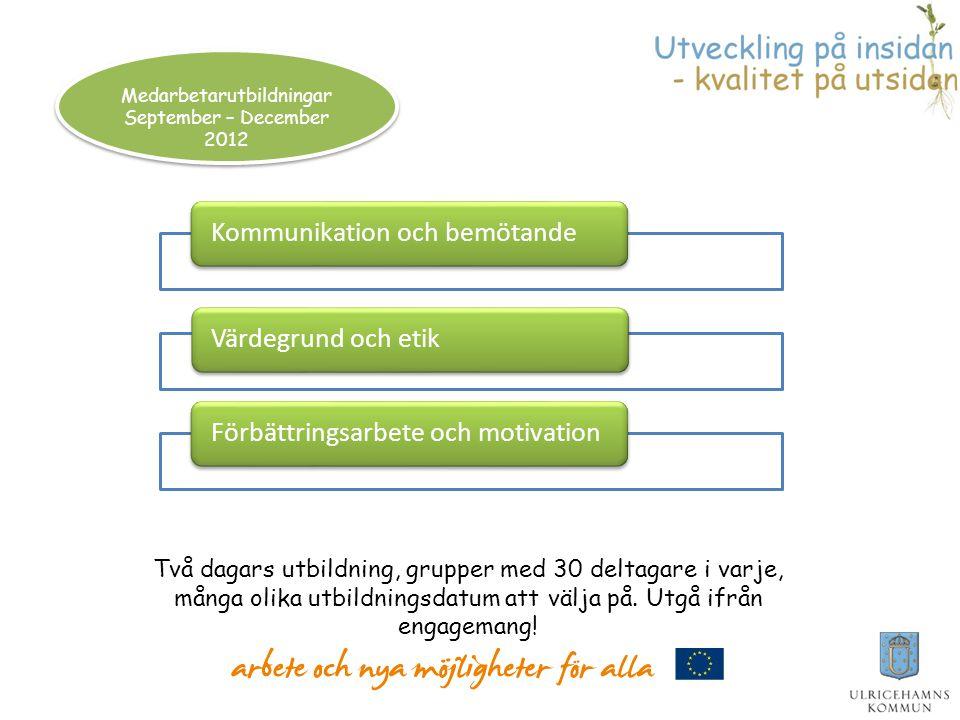 Kommunikation och bemötandeVärdegrund och etikFörbättringsarbete och motivation Medarbetarutbildningar September – December 2012 Två dagars utbildning