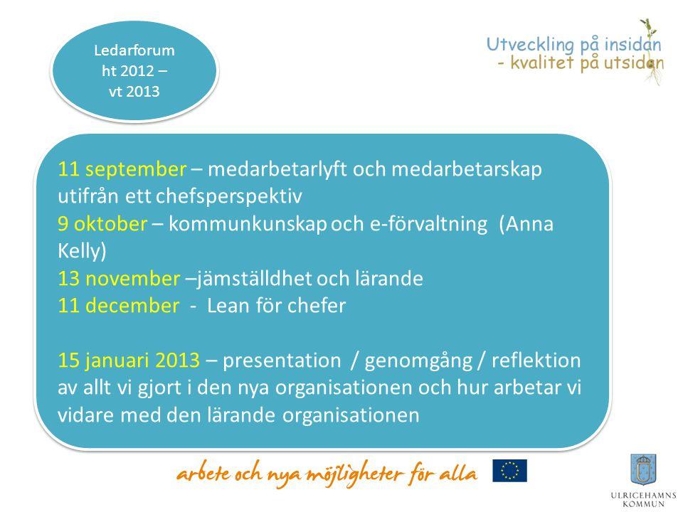 11 september – medarbetarlyft och medarbetarskap utifrån ett chefsperspektiv 9 oktober – kommunkunskap och e-förvaltning (Anna Kelly) 13 november –jäm