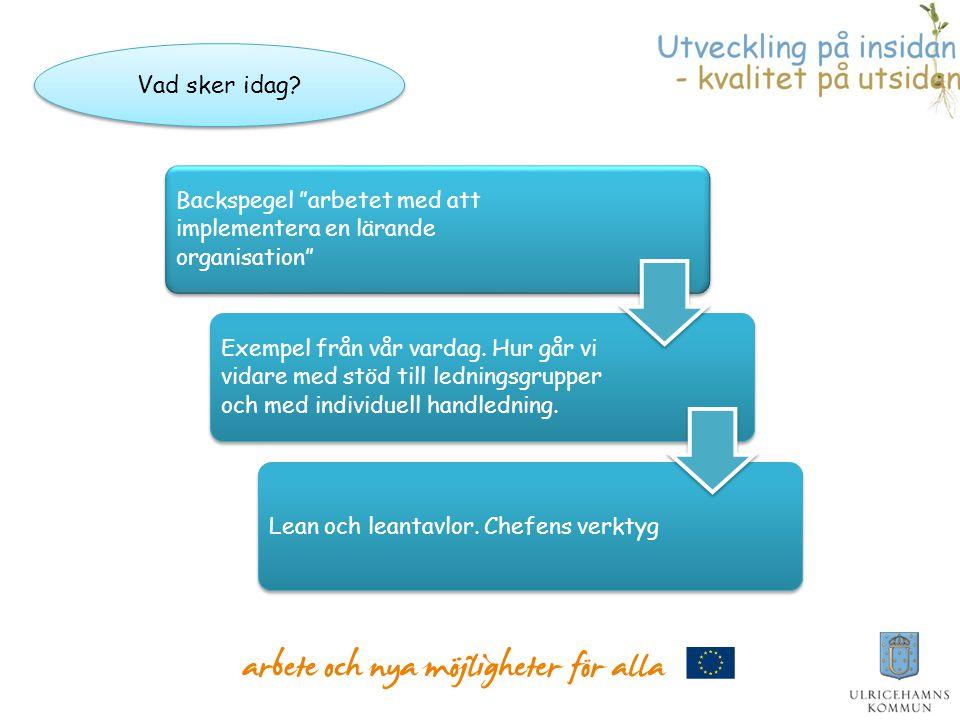 """Backspegel """"arbetet med att implementera en lärande organisation"""" Exempel från vår vardag. Hur går vi vidare med stöd till ledningsgrupper och med ind"""