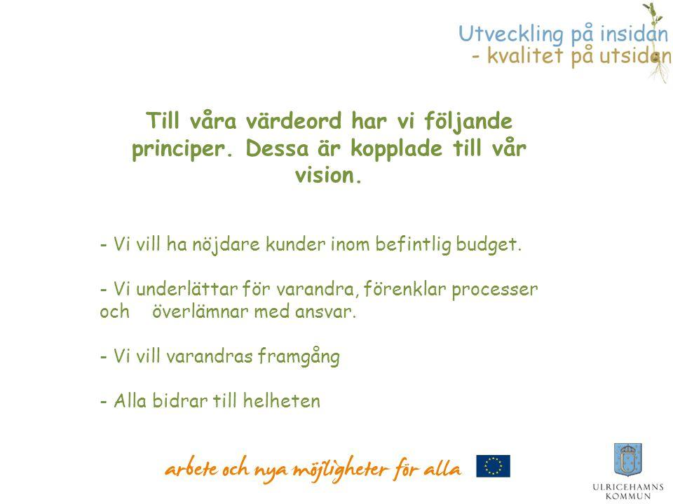 Till våra värdeord har vi följande principer. Dessa är kopplade till vår vision. - Vi vill ha nöjdare kunder inom befintlig budget. - Vi underlättar f