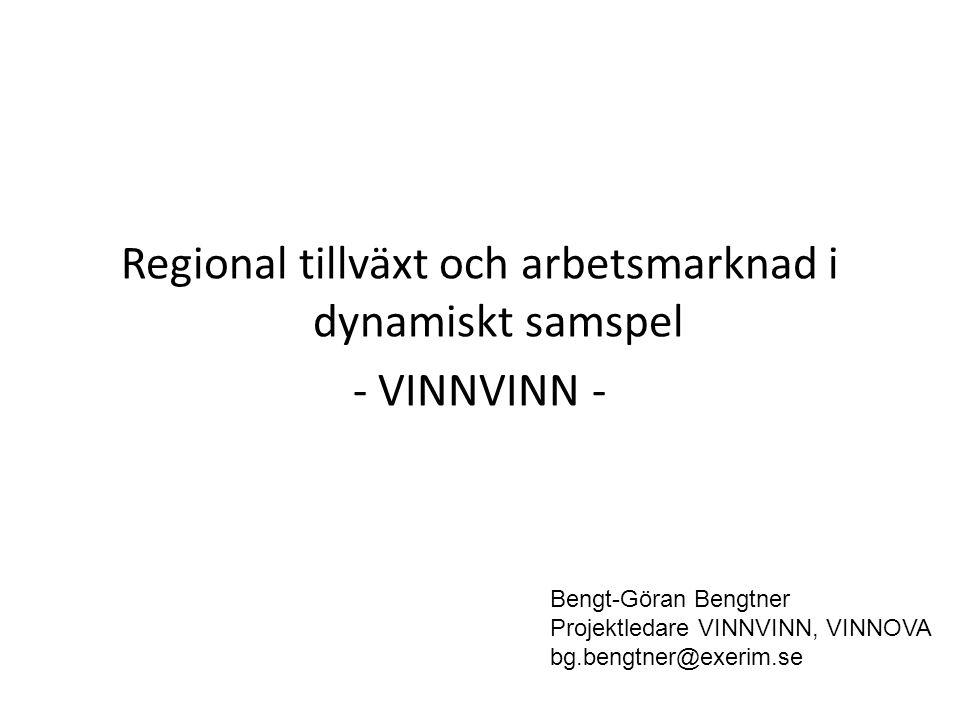 Regional tillväxt och arbetsmarknad i dynamiskt samspel - VINNVINN - Bengt-Göran Bengtner Projektledare VINNVINN, VINNOVA bg.bengtner@exerim.se