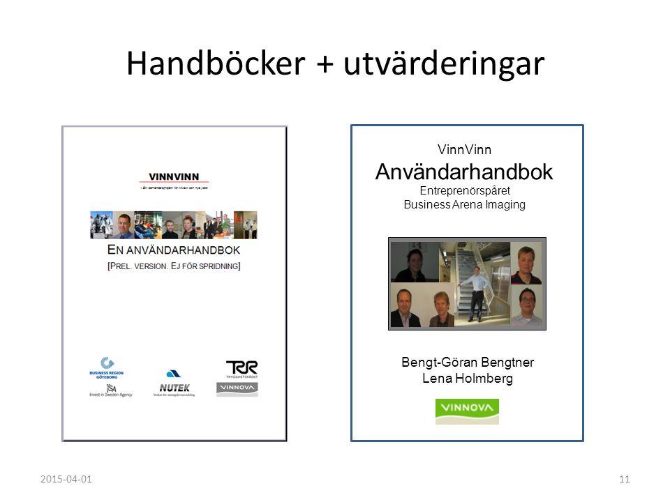 2015-04-0111 Handböcker + utvärderingar Bengt-Göran Bengtner Lena Holmberg VinnVinn Användarhandbok Entreprenörspåret Business Arena Imaging