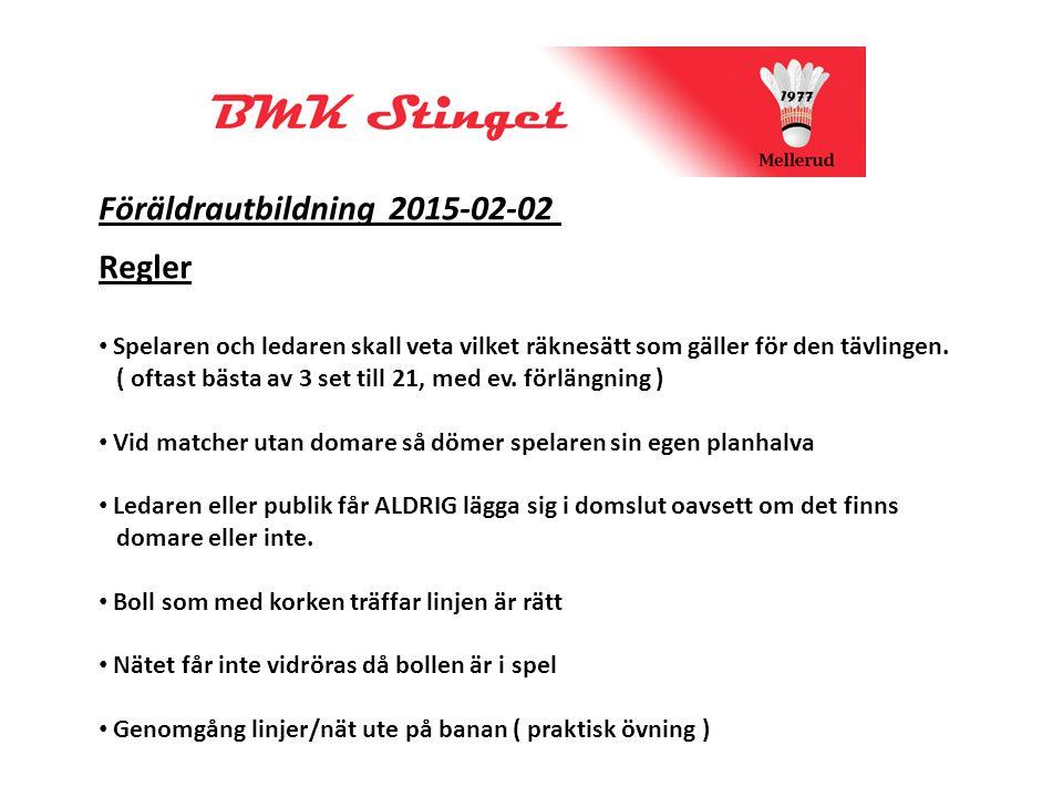 Föräldrautbildning 2015-02-02 Regler Spelaren och ledaren skall veta vilket räknesätt som gäller för den tävlingen.