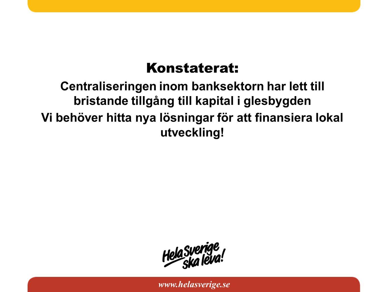 www.helasverige.se Konstaterat: Centraliseringen inom banksektorn har lett till bristande tillgång till kapital i glesbygden Vi behöver hitta nya lösn