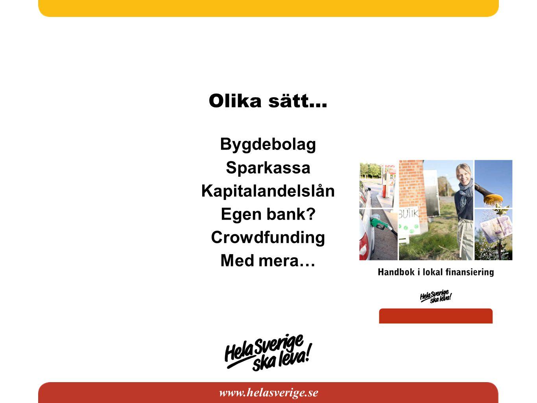 www.helasverige.se Olika sätt… Bygdebolag Sparkassa Kapitalandelslån Egen bank? Crowdfunding Med mera…
