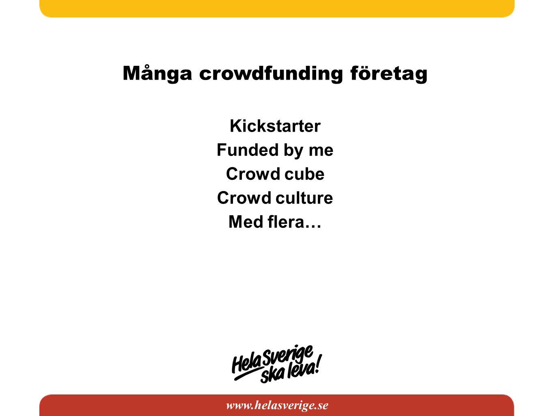 www.helasverige.se Många crowdfunding företag Kickstarter Funded by me Crowd cube Crowd culture Med flera…