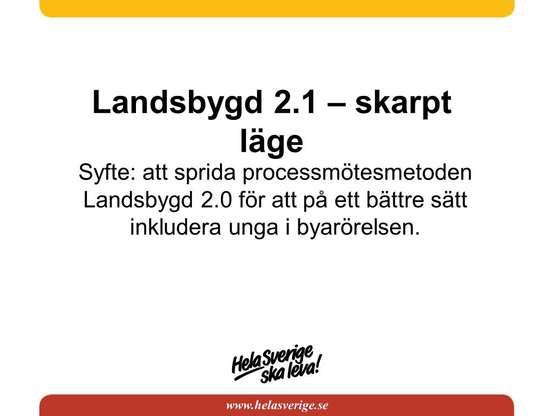 www.helasverige.se Landsbygd 2.1 – skarpt läge Syfte: att sprida processmötesmetoden Landsbygd 2.0 för att på ett bättre sätt inkludera unga i byarörelsen.