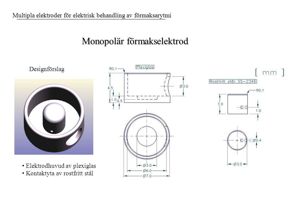 Multipla elektroder för elektrisk behandling av förmaksarytmi Monopolär förmakselektrod Designförslag Elektrodhuvud av plexiglas Kontaktyta av rostfritt stål