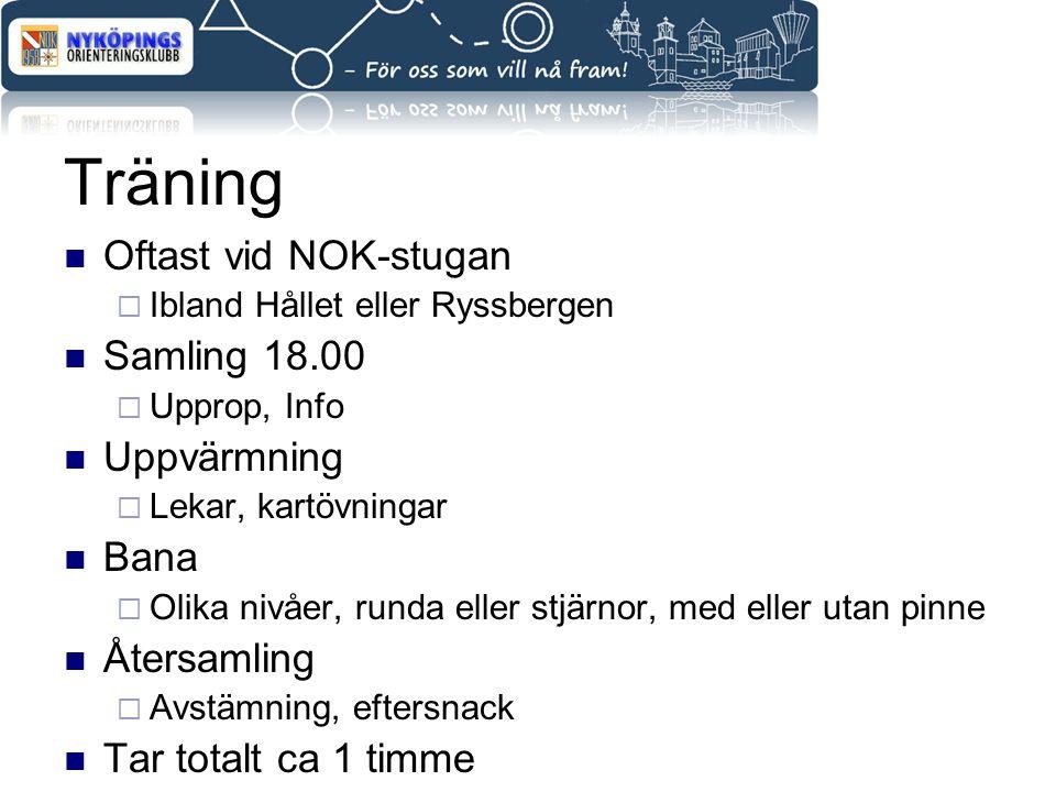 Träning Oftast vid NOK-stugan  Ibland Hållet eller Ryssbergen Samling 18.00  Upprop, Info Uppvärmning  Lekar, kartövningar Bana  Olika nivåer, run