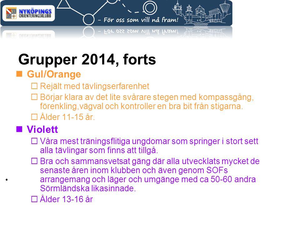 Grupper 2014, forts Gul/Orange  Rejält med tävlingserfarenhet  Börjar klara av det lite svårare stegen med kompassgång, förenkling,vägval och kontro