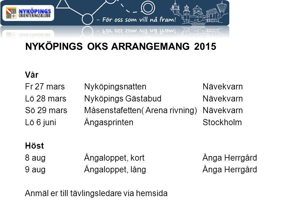 NYKÖPINGS OKS ARRANGEMANG 2015 Vår Fr 27 mars NyköpingsnattenNävekvarn Lö 28 mars Nyköpings GästabudNävekvarn Sö 29 marsMåsenstafetten( Arena rivning)