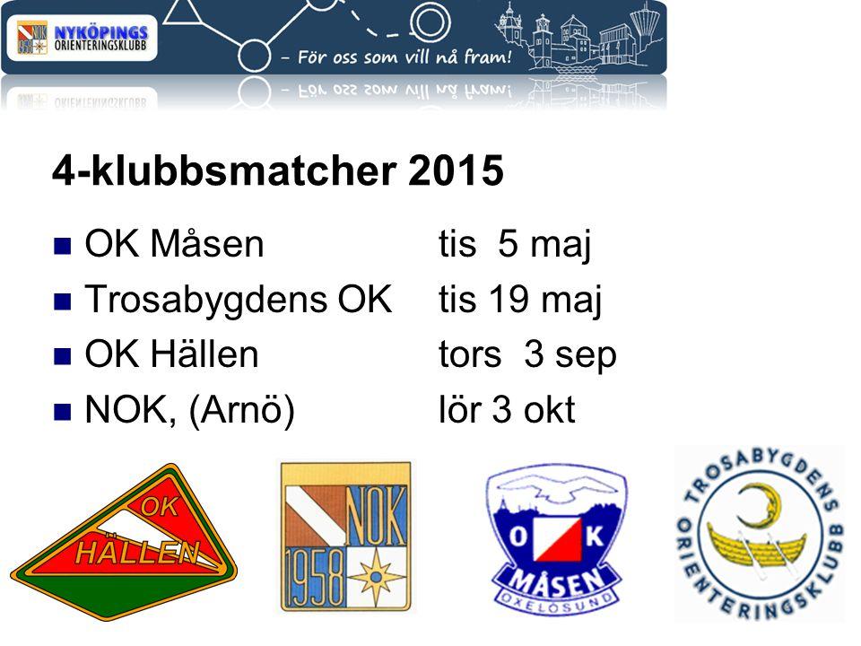4-klubbsmatcher 2015 OK Måsentis 5 maj Trosabygdens OKtis 19 maj OK Hällentors 3 sep NOK, (Arnö)lör 3 okt