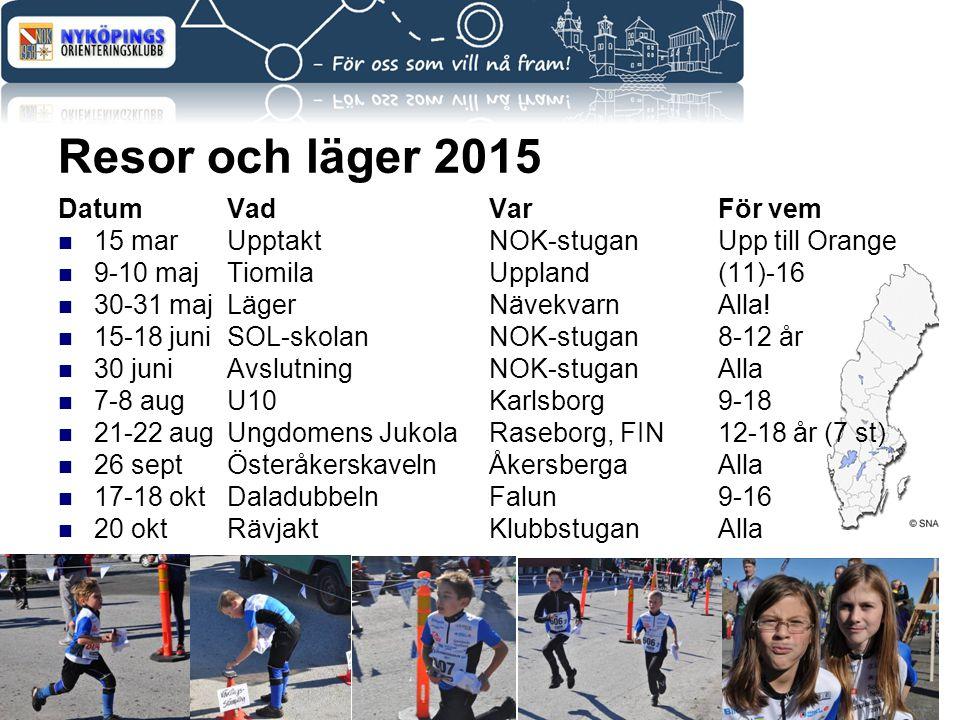 Resor och läger 2015 DatumVadVarFör vem 15 marUpptaktNOK-stuganUpp till Orange 9-10 majTiomilaUppland(11)-16 30-31 majLägerNävekvarnAlla! 15-18 juniSO
