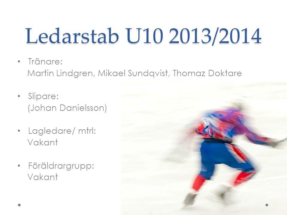 Ledarstab U10 2013/2014 Tränare: Martin Lindgren, Mikael Sundqvist, Thomaz Doktare Slipare: (Johan Danielsson) Lagledare/ mtrl: Vakant Föräldrargrupp: