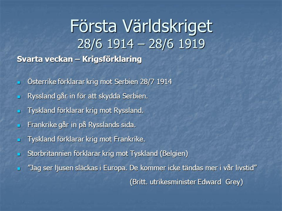 Första Världskriget 28/6 1914 – 28/6 1919 Svarta veckan – Krigsförklaring Österrike förklarar krig mot Serbien 28/7 1914 Österrike förklarar krig mot Serbien 28/7 1914 Ryssland går in för att skydda Serbien.
