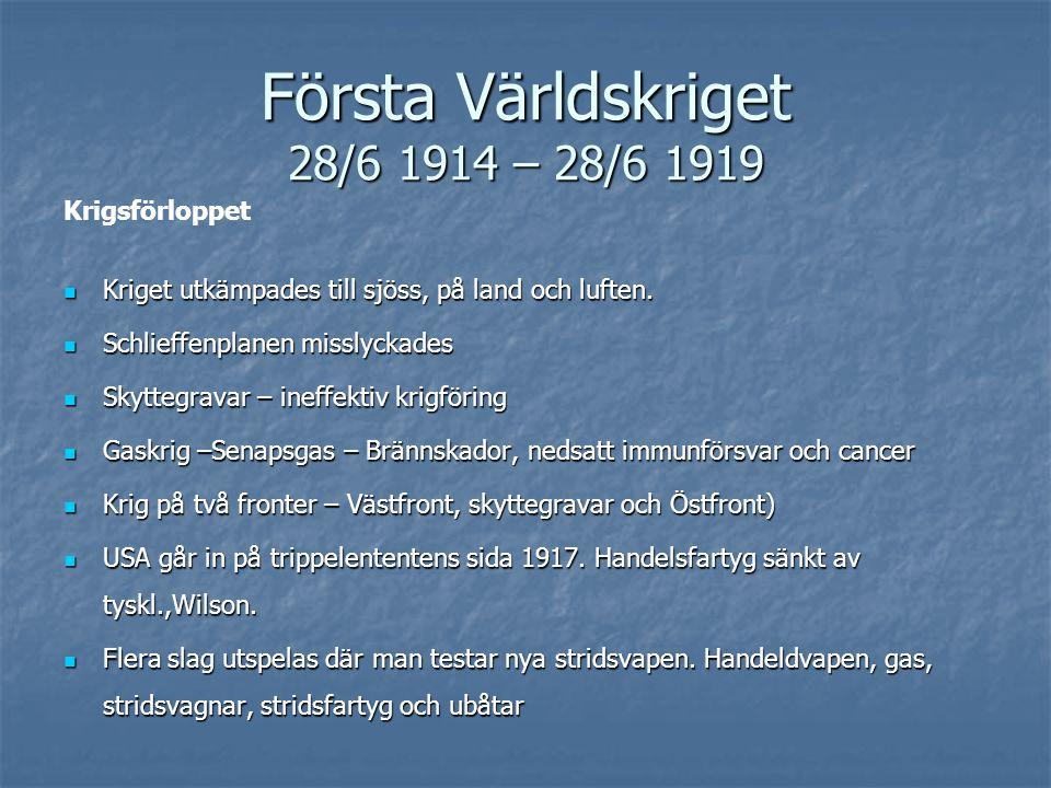 Första Världskriget 28/6 1914 – 28/6 1919 Krigsförloppet Kriget utkämpades till sjöss, på land och luften.