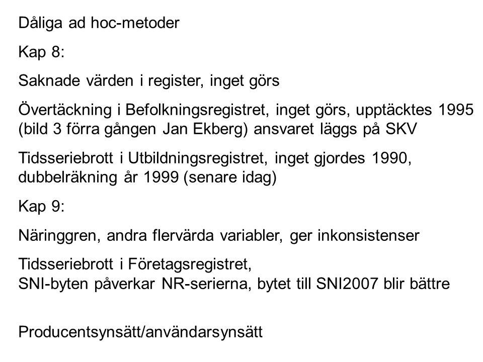 Kap 8: Saknade värden i register, inget görs Övertäckning i Befolkningsregistret, inget görs, upptäcktes 1995 (bild 3 förra gången Jan Ekberg) ansvare