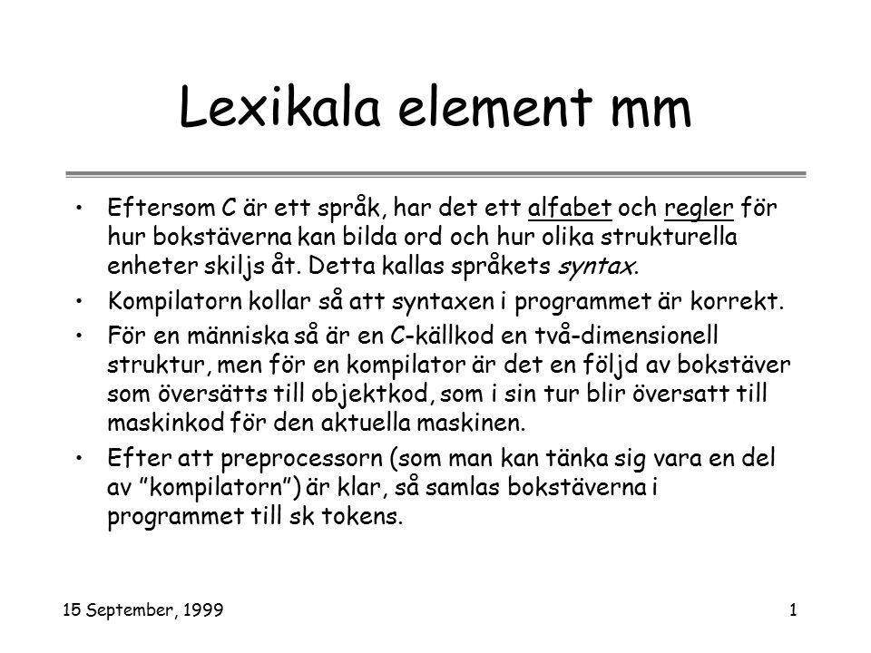 15 September, 19991 Lexikala element mm Eftersom C är ett språk, har det ett alfabet och regler för hur bokstäverna kan bilda ord och hur olika strukturella enheter skiljs åt.