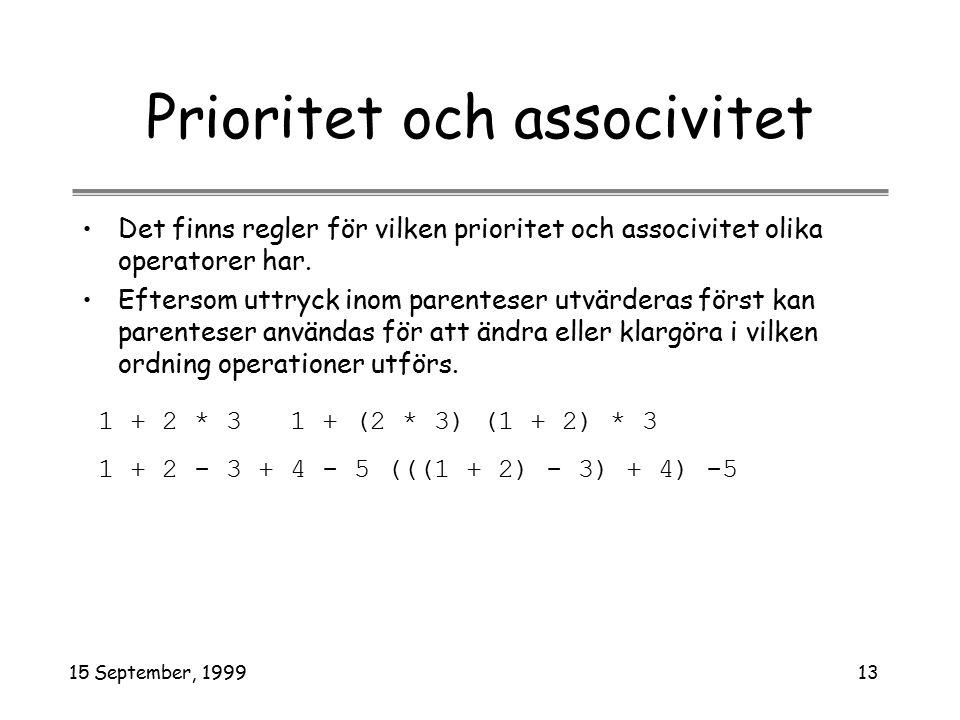 15 September, 199913 Prioritet och associvitet Det finns regler för vilken prioritet och associvitet olika operatorer har. Eftersom uttryck inom paren