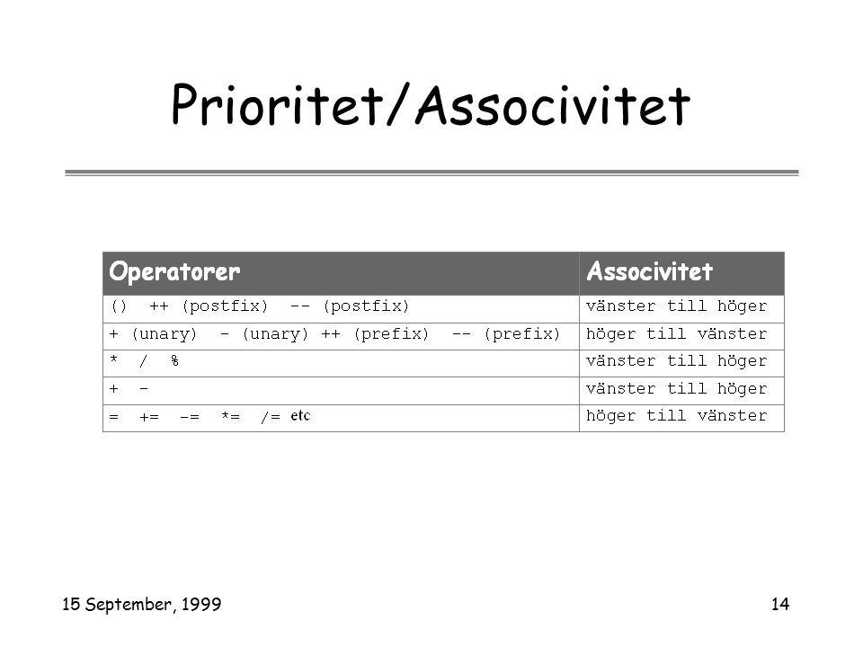 15 September, 199914 Prioritet/Associvitet