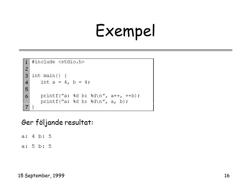 15 September, 199916 Exempel a: 4 b: 5 a: 5 b: 5 Ger följande resultat: