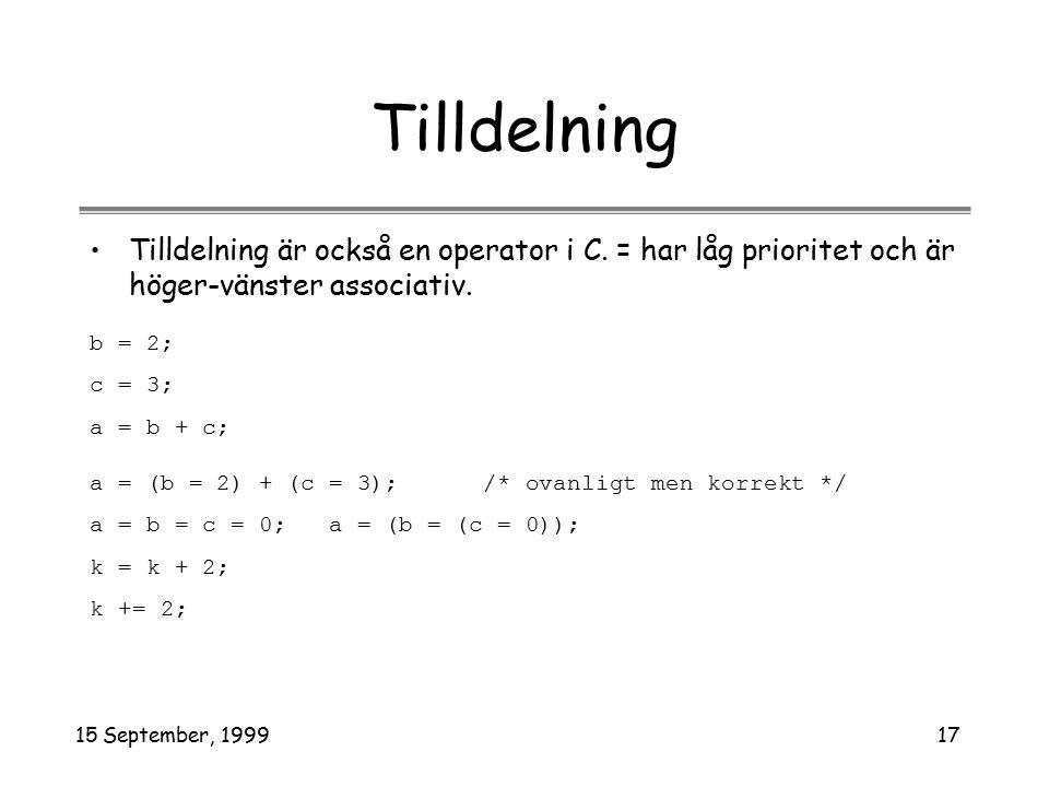 15 September, 199917 Tilldelning Tilldelning är också en operator i C. = har låg prioritet och är höger-vänster associativ. b = 2; c = 3; a = b + c; a