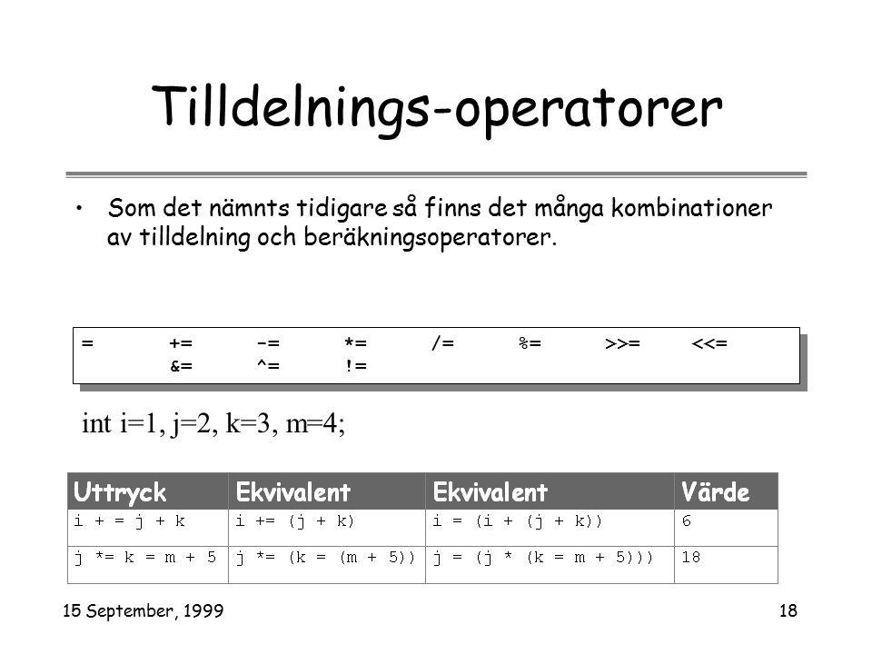 15 September, 199918 Tilldelnings-operatorer Som det nämnts tidigare så finns det många kombinationer av tilldelning och beräkningsoperatorer. = += -=