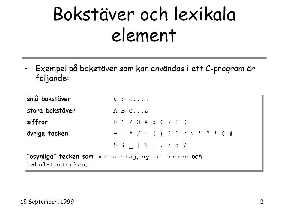15 September, 19992 Bokstäver och lexikala element Exempel på bokstäver som kan användas i ett C-program är följande: små bokstäver a b c...z stora bokstäver A B C...Z siffror 0 1 2 3 4 5 6 7 8 9 övriga tecken + - * / = ( ) [ ] ' .