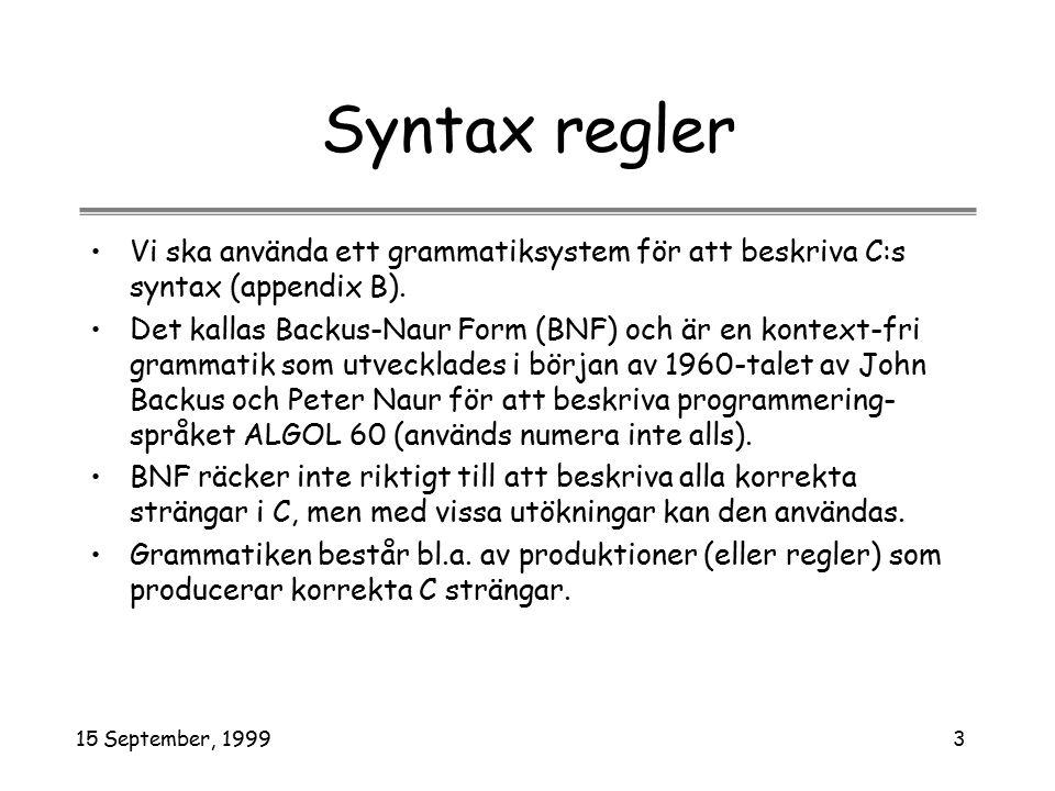 15 September, 19993 Syntax regler Vi ska använda ett grammatiksystem för att beskriva C:s syntax (appendix B). Det kallas Backus-Naur Form (BNF) och ä