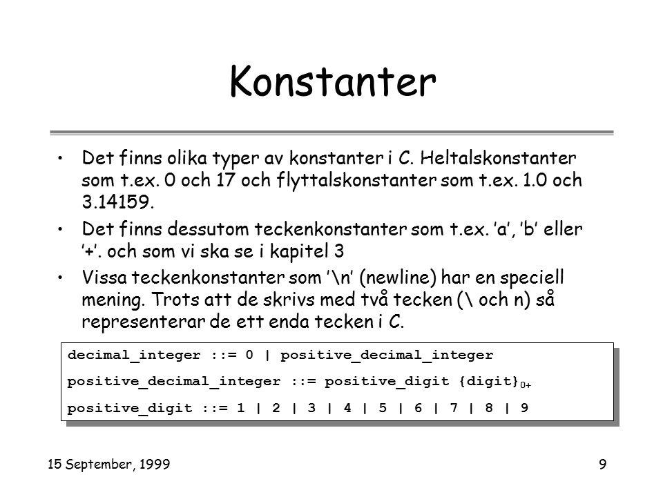 15 September, 19999 Konstanter Det finns olika typer av konstanter i C. Heltalskonstanter som t.ex. 0 och 17 och flyttalskonstanter som t.ex. 1.0 och
