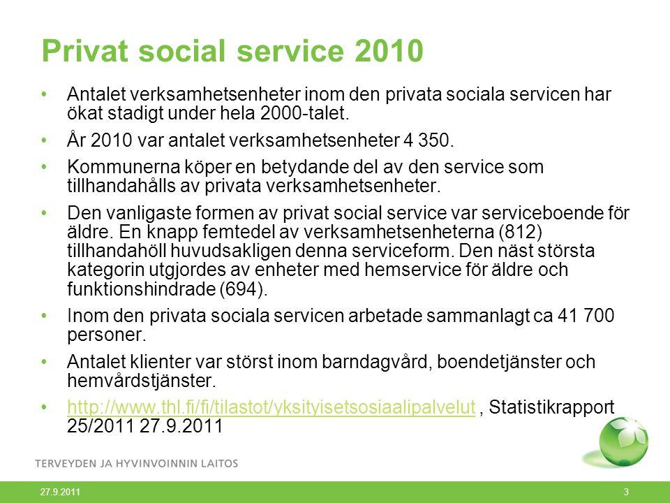 Privat social service 2010 Antalet verksamhetsenheter inom den privata sociala servicen har ökat stadigt under hela 2000-talet. År 2010 var antalet ve