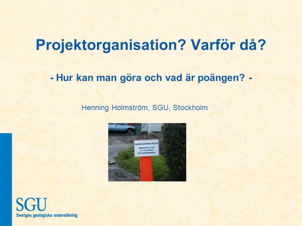 Projektorganisation? Varför då? - Hur kan man göra och vad är poängen? - Henning Holmström, SGU, Stockholm