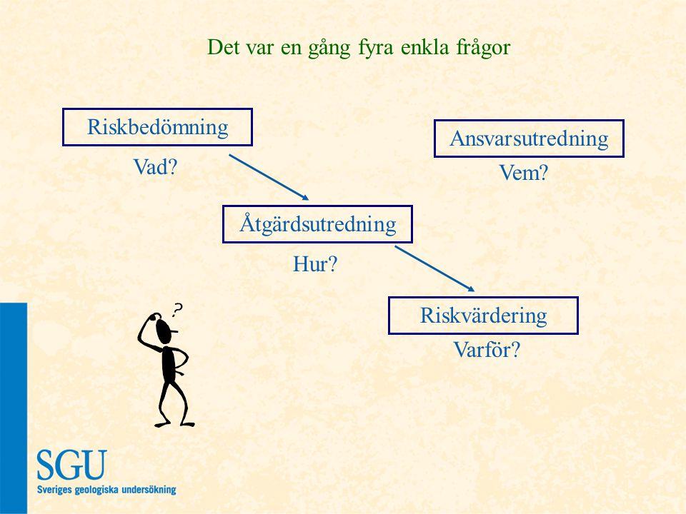 Riskbedömning Åtgärdsutredning Riskvärdering Varför.