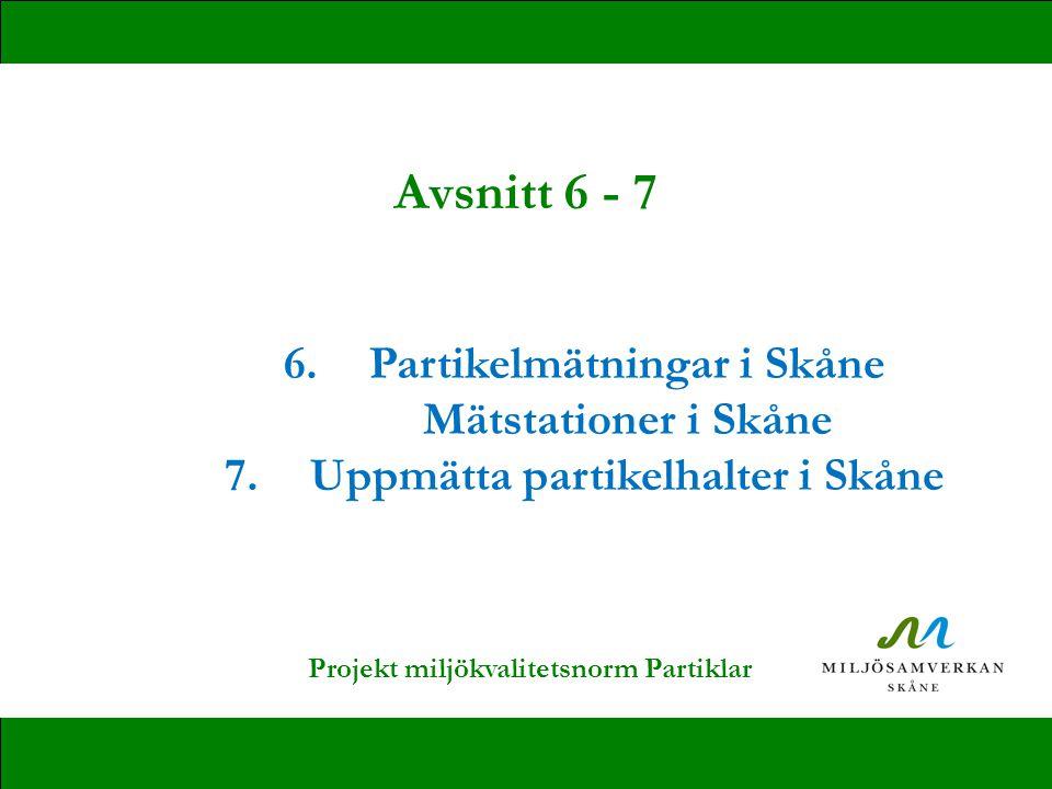 6.Partikelmätningar i Skåne Mätstationer i Skåne 7.Uppmätta partikelhalter i Skåne Avsnitt 6 - 7 Projekt miljökvalitetsnorm Partiklar