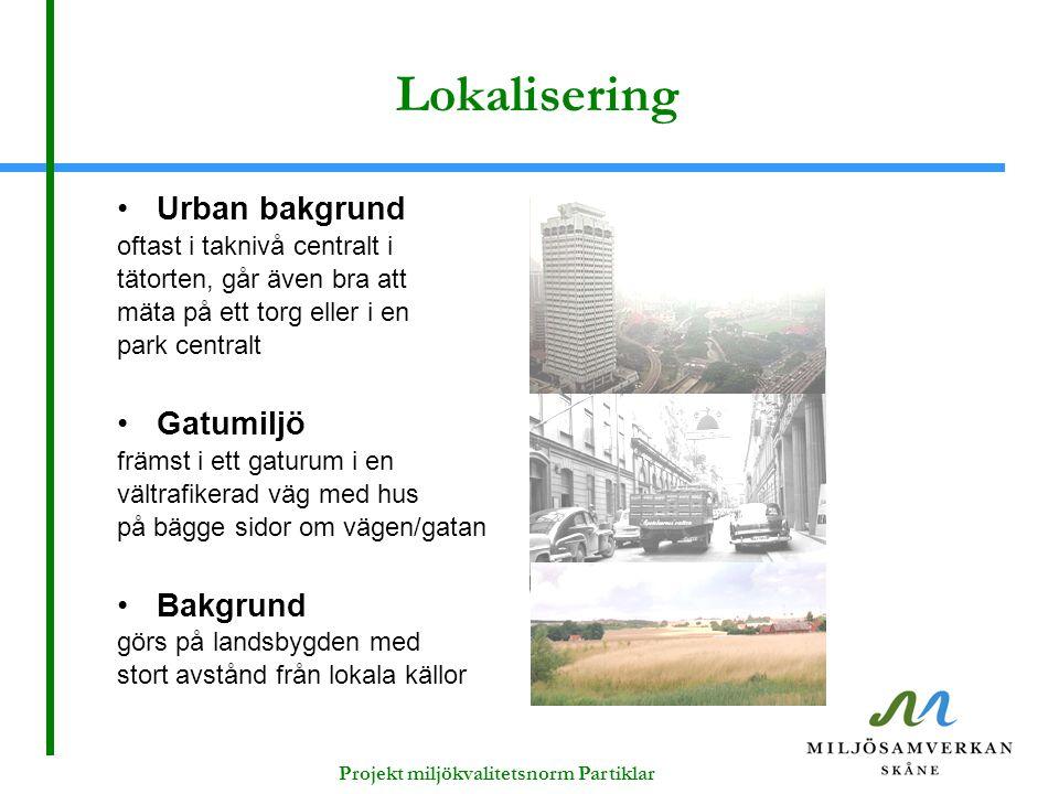 Lokalisering Urban bakgrund oftast i taknivå centralt i tätorten, går även bra att mäta på ett torg eller i en park centralt Gatumiljö främst i ett ga