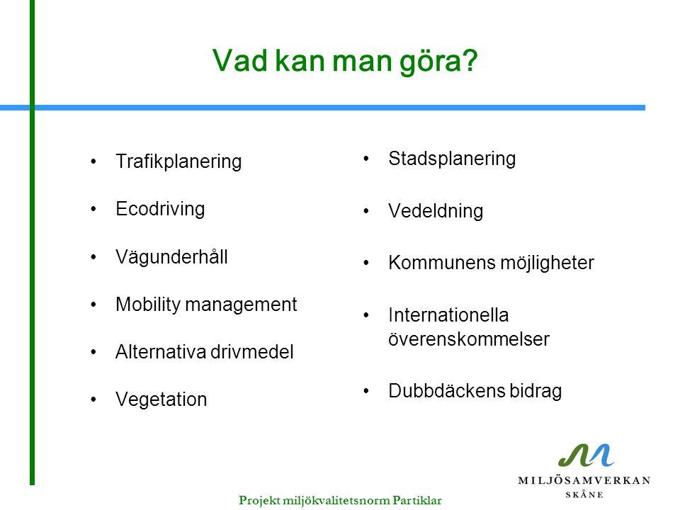 Vad kan man göra? Trafikplanering Ecodriving Vägunderhåll Mobility management Alternativa drivmedel Vegetation Stadsplanering Vedeldning Kommunens möj