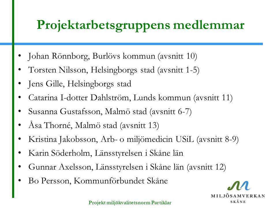 Projektarbetsgruppens medlemmar Johan Rönnborg, Burlövs kommun (avsnitt 10) Torsten Nilsson, Helsingborgs stad (avsnitt 1-5) Jens Gille, Helsingborgs