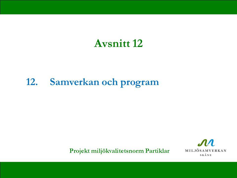 12.Samverkan och program Avsnitt 12 Projekt miljökvalitetsnorm Partiklar