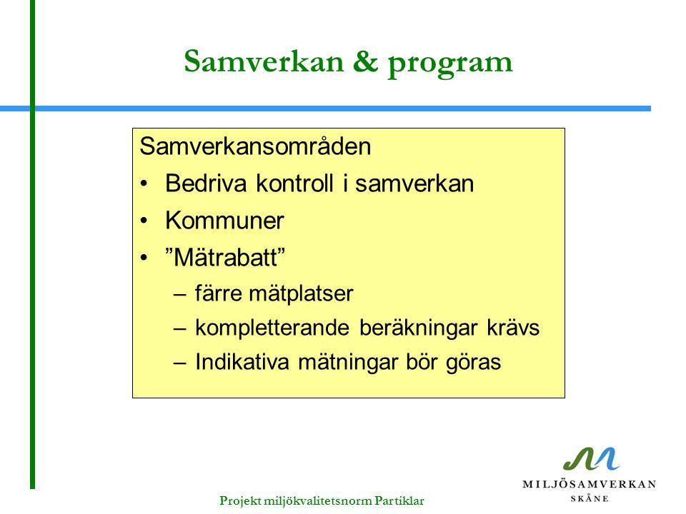 """Samverkan & program Samverkansområden Bedriva kontroll i samverkan Kommuner """"Mätrabatt"""" –färre mätplatser –kompletterande beräkningar krävs –Indikativ"""
