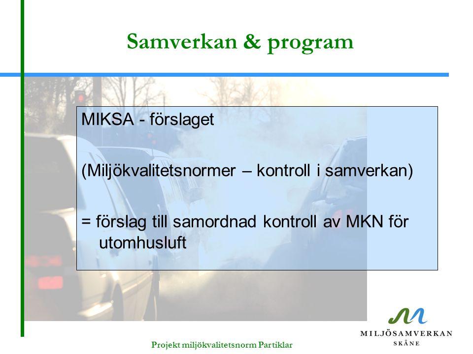 Projekt miljökvalitetsnorm Partiklar Samverkan & program MIKSA - förslaget (Miljökvalitetsnormer – kontroll i samverkan) = förslag till samordnad kont