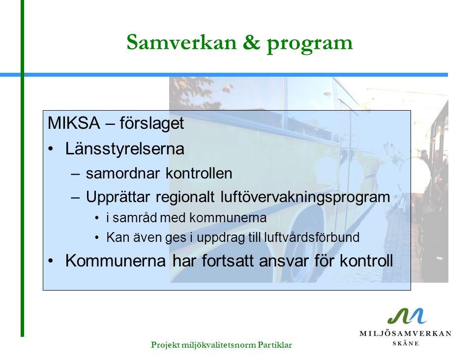 Projekt miljökvalitetsnorm Partiklar Samverkan & program MIKSA – förslaget Länsstyrelserna –samordnar kontrollen –Upprättar regionalt luftövervaknings