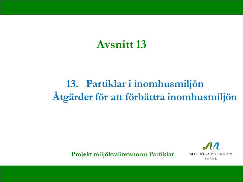 13.Partiklar i inomhusmiljön Åtgärder för att förbättra inomhusmiljön Avsnitt 13 Projekt miljökvalitetsnorm Partiklar
