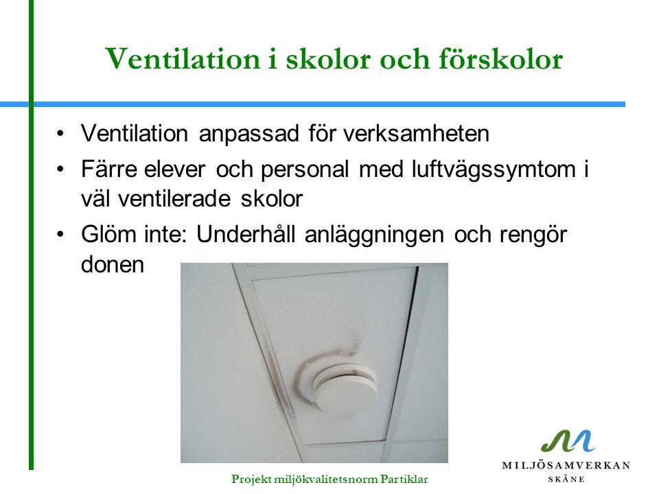 Ventilation i skolor och förskolor Ventilation anpassad för verksamheten Färre elever och personal med luftvägssymtom i väl ventilerade skolor Glöm in