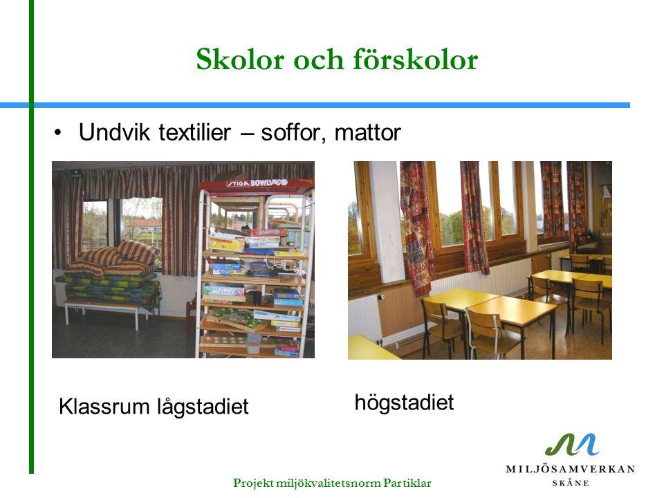 Skolor och förskolor Undvik textilier – soffor, mattor Klassrum lågstadiet högstadiet Projekt miljökvalitetsnorm Partiklar