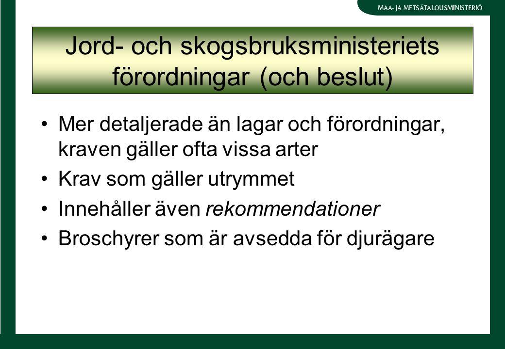 Jord- och skogsbruksministeriets förordningar (och beslut) Mer detaljerade än lagar och förordningar, kraven gäller ofta vissa arter Krav som gäller utrymmet Innehåller även rekommendationer Broschyrer som är avsedda för djurägare
