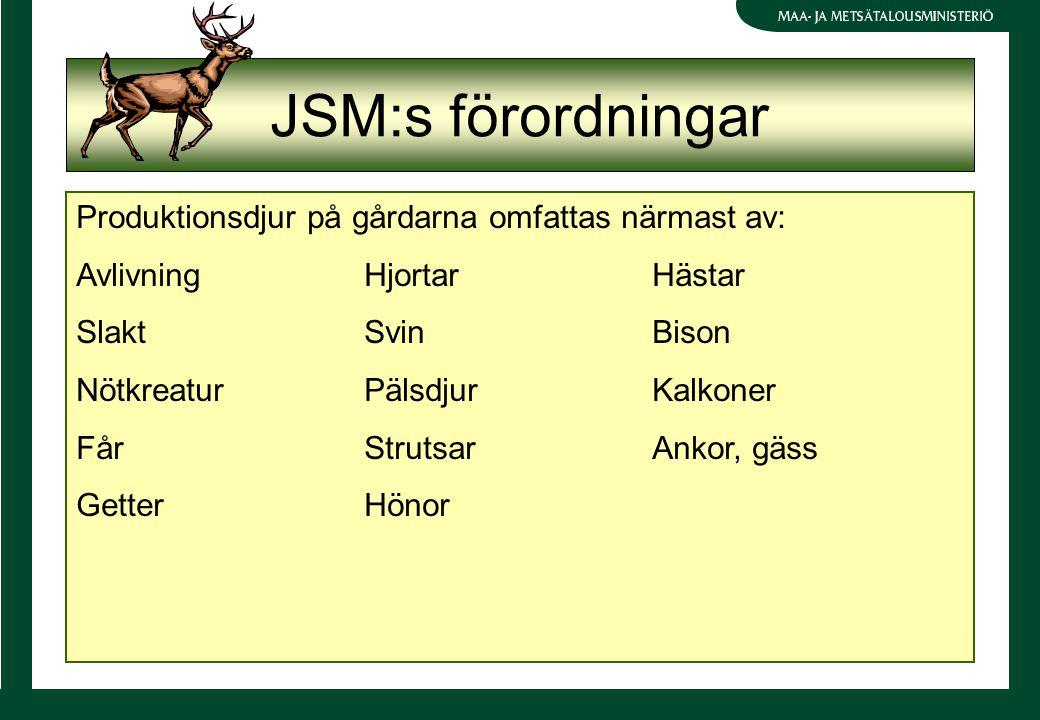 JSM:s förordningar Produktionsdjur på gårdarna omfattas närmast av: AvlivningHjortarHästar SlaktSvinBison NötkreaturPälsdjurKalkoner FårStrutsarAnkor, gäss GetterHönor