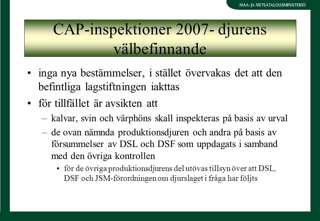 inga nya bestämmelser, i stället övervakas det att den befintliga lagstiftningen iakttas för tillfället är avsikten att –kalvar, svin och värphöns skall inspekteras på basis av urval –de ovan nämnda produktionsdjuren och andra på basis av försummelser av DSL och DSF som uppdagats i samband med den övriga kontrollen för de övriga produktionsdjurens del utövas tillsyn över att DSL, DSF och JSM-förordningen om djurslaget i fråga har följts CAP-inspektioner 2007- djurens välbefinnande