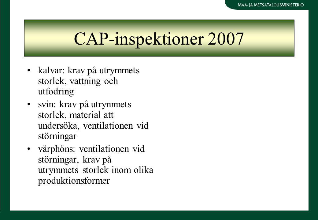 CAP-inspektioner 2007 kalvar: krav på utrymmets storlek, vattning och utfodring svin: krav på utrymmets storlek, material att undersöka, ventilationen vid störningar värphöns: ventilationen vid störningar, krav på utrymmets storlek inom olika produktionsformer