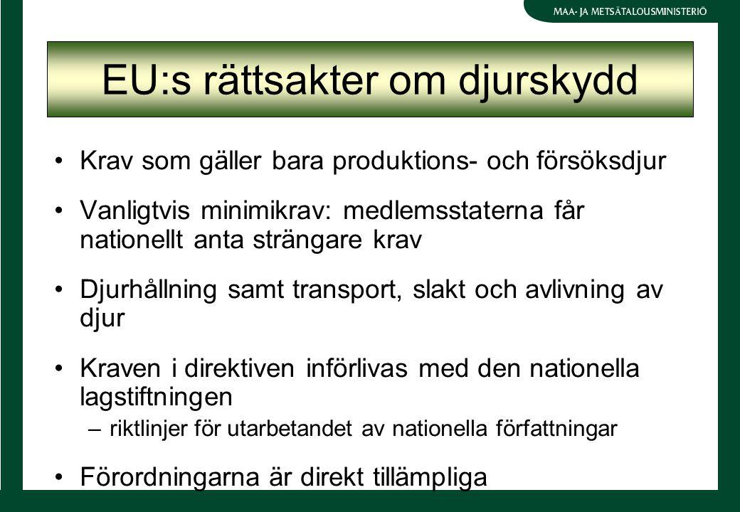 EU:s rättsakter om djurskydd Krav som gäller bara produktions- och försöksdjur Vanligtvis minimikrav: medlemsstaterna får nationellt anta strängare krav Djurhållning samt transport, slakt och avlivning av djur Kraven i direktiven införlivas med den nationella lagstiftningen –riktlinjer för utarbetandet av nationella författningar Förordningarna är direkt tillämpliga