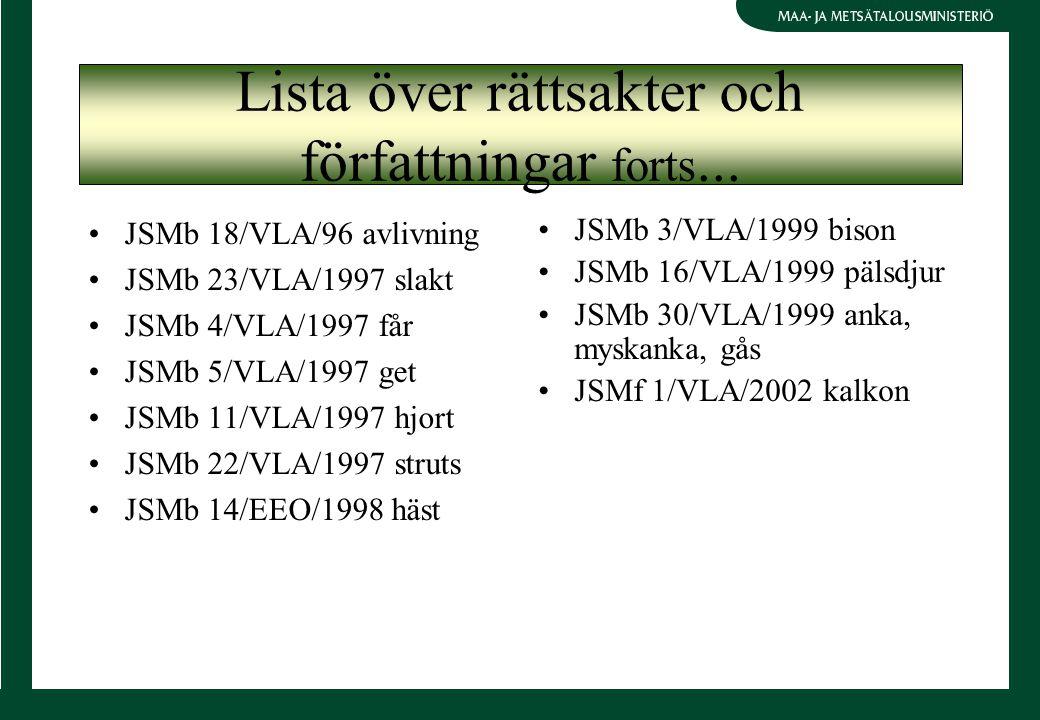 JSMb 18/VLA/96 avlivning JSMb 23/VLA/1997 slakt JSMb 4/VLA/1997 får JSMb 5/VLA/1997 get JSMb 11/VLA/1997 hjort JSMb 22/VLA/1997 struts JSMb 14/EEO/1998 häst JSMb 3/VLA/1999 bison JSMb 16/VLA/1999 pälsdjur JSMb 30/VLA/1999 anka, myskanka, gås JSMf 1/VLA/2002 kalkon Lista över rättsakter och författningar forts...